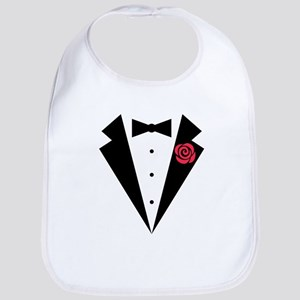 Funny Tuxedo [red rose] Bib